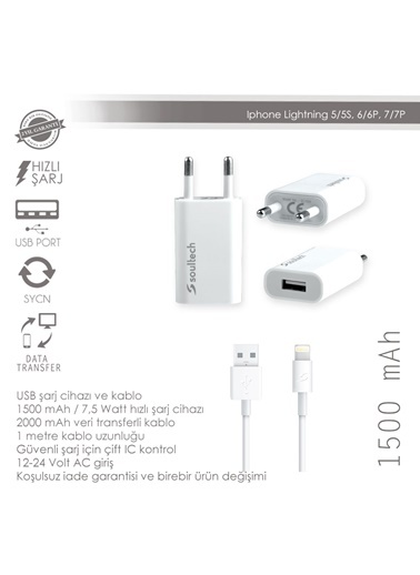 1500 Mah Usb Charger iPhone 5/6/6S-Soultech
